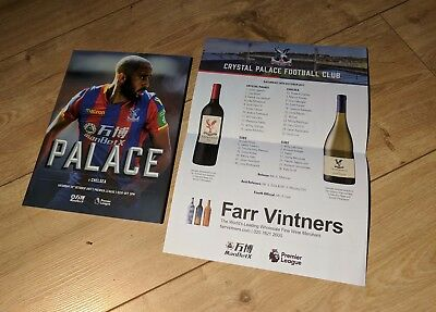Crystal Palace v Chelsea Programme and team sheet  14/10/2017 14th October