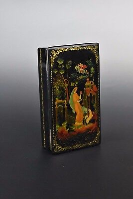 Vintage Signed Russian Hand Painted Lacquer Box