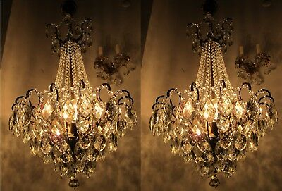 Pair of Antique French LARGE Spider Style Crystal Chandelier 1940's 18,5 in Ø
