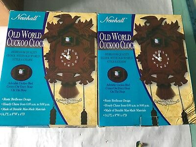Lot of 2 Cuckoo Clock newhall Vintage Old World NICE in box never open rare nice