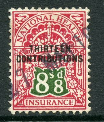 GB Great Britain Revenue NATIONAL INSURANCE Thirteen Contributions 8/8d. USED
