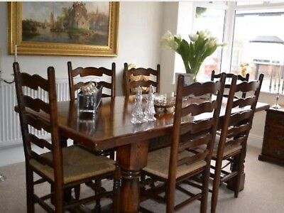 Titchmarsh and Goodwin style 6 seater solid oak dining table and chairs