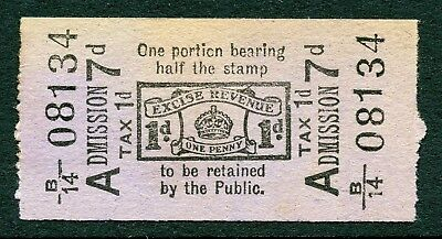 GB Great Britain Revenue Excise Duty 1d. direct intact ticket.