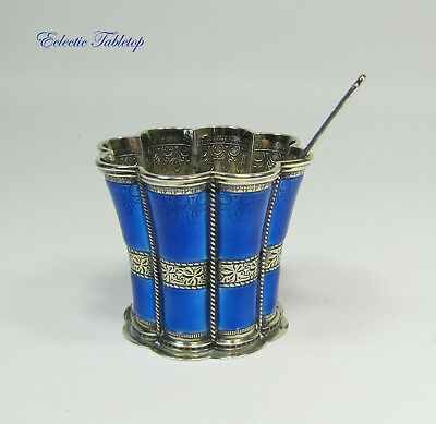 Vintage A. Michelsen Denmark Sterling Silver Cobalt Margrethe Cup with Spoon