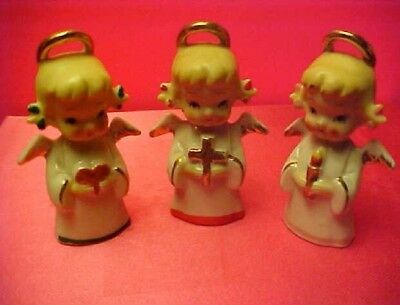 3 VINTAGE Noel Christmas ANGELS with cross, heart & candle