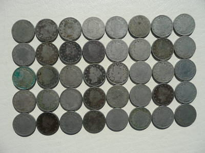 Lot of 40 Liberty V Nickel Five Cents Coins - mixed dates - Lot 2