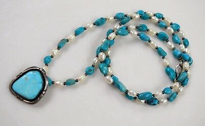 Native American Kingman Turq Joe Delgarito Navajo Sterling Turquoise Necklace