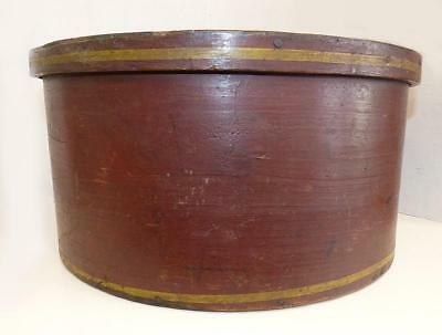 """Rare Painted & Striped Large 19Th Century Dry Measure - 15 3/4"""" Dia. - Vg Cond."""