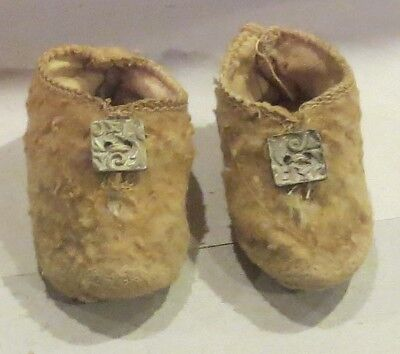 """w328 Antique 2 1/2"""" Doll Shoes for Antique French or German Bisque Doll"""