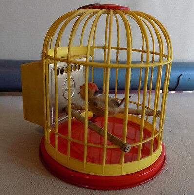 Rare Vintage Biller Toys Chirpy Singing Wind Up Bird In Cage Western Germany *nr