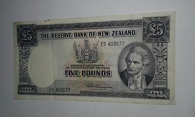 New Zealand Banknote 5 Pounds Fleming 1956, VF++ See images!