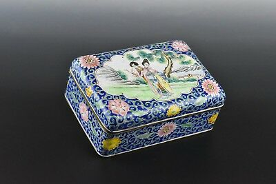 Antique 19th Century Chinese Enamel Box with Scenic Lid