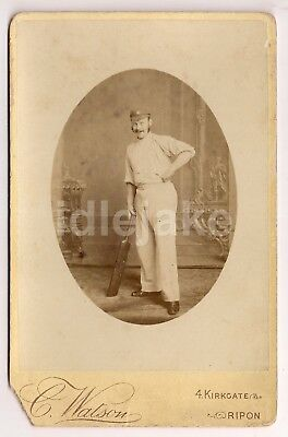 Ripon Cricket Player with Bat Victorian Cabinet Photo c1890 Scott William Wells