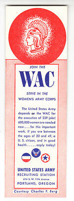 "Wwii Vintage Join The Wac Bookmark - Serve In The Women""s Army Corps"
