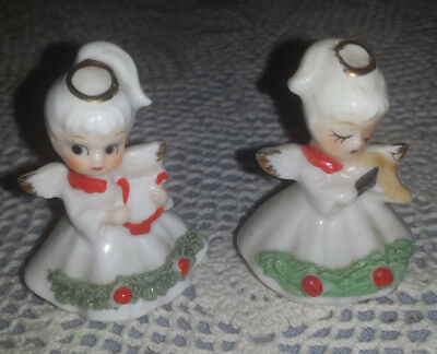 "2 Spaghetti Christmas Angels 1 Napco Harp 1 Enesco Violin Bone China 2"" Tall"