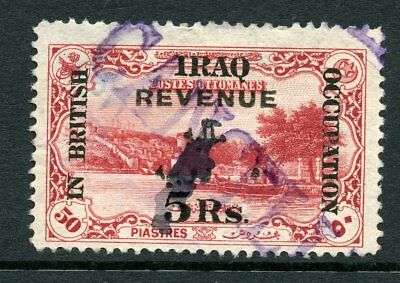 Iraq 1918 5r. on 50pi red British Occupation REVENUE fiscal 1918 fine used
