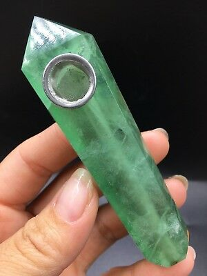1pcs natural Green fluorite quartz crystal smoking pipe as gift
