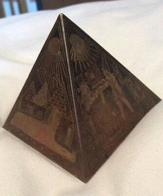 Antique Egyptian Bronze Power Pyramid~Etched Brass/Copper Paper Weight