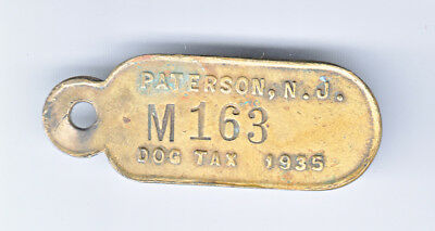 Vintage 1935 Paterson New Jersey Dog Tax License Tag #m163