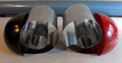 Rare Vintage Lot Of 2 Revere Art Deco Chrome Roll Up Bookends Red Black Rome Ny.