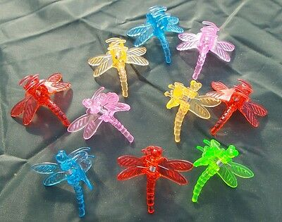 BN 10 Decorative Dragonfly Plant/Orchid/Hair Clips Mixed Colours FREEPOST!!