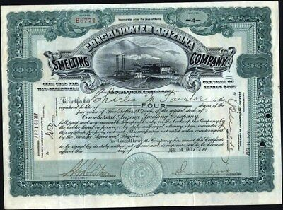 Consolidated Arizona Smelting Co, 1917, Handsome Stock Certificate