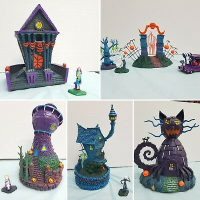 Nightmare Before Christmas Black Light Hawthorne Village Collection Set 5 pieces