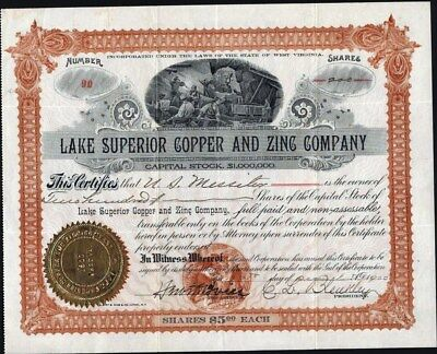 Lake Superior Copper And Zinc Co, West Virginia, 1900, Uncancelled Stock Cft.