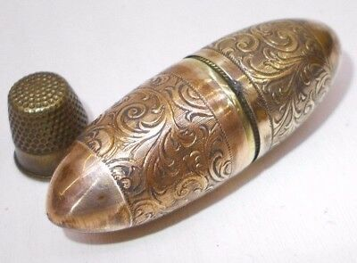 Vintage needle case box capsule sewing tool w brass thimble antique 1930's