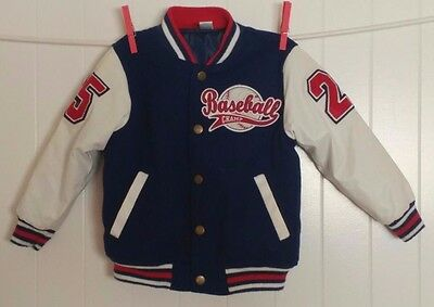 Toddler Boy EUC Baseball  SZ 4T Blue White Red Lined #25 Champ  Boutique Jacket