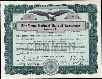 Union National Bank Of Lewisburg, Pa,                          Stock Certificate