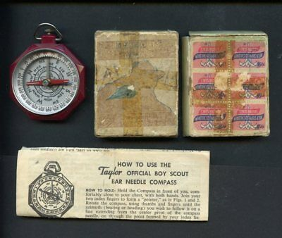 Vintage Boy Scout Boxed #1075 Taylor Needle Compass-1953 date-w/ instructions