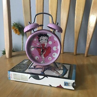 Betty Boop Pink Bell Style Alarm Clock 2004 collectable