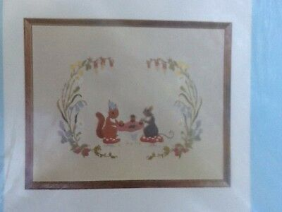 Early VINTAGE Kit CREWEL BY CATHY Tea Party SQUIRREL + MOUSE 17x19 WOOL Yarn NEW
