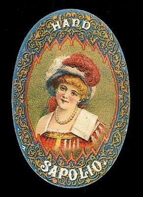 Rosy-Cheeked Beauty In Red Feather Hat-Colorful Victorian Trade Card-Soap