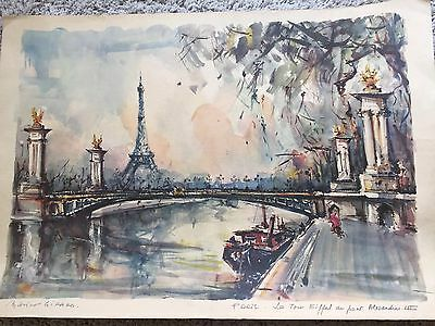 -Marius Girard-Water Color -1960's French Artist-PARIS LE TOUR EFFEL 21 x 14