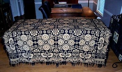 Antique American jacquard woven coverlet / spread ~ signed j cleever Easton 1844