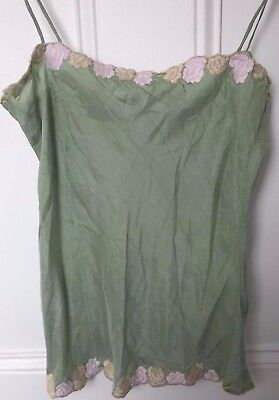 Vintage Green Silk Camisole Top with Floral Embroidery at hem. SIZE 8/10