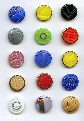15 GLASS buttons--LOTS of DESIGNS--COLORS & TRIMS--NICE--3/4""