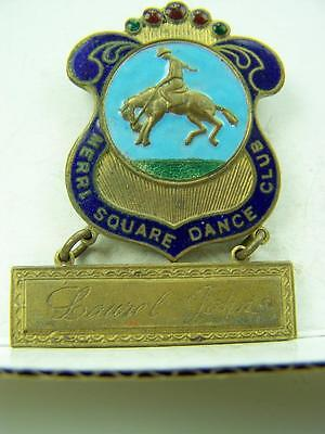 1950's Merri Square Dance Club enamel membership pin back badge Victoria 1089