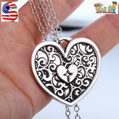 Women Fashion Retro Ancient Silver Plated Flower Heart Cross Pendant Necklace