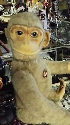 Antique Schuco Jointed Mohair Monkey Doll yes no turn tail head turns  lovely