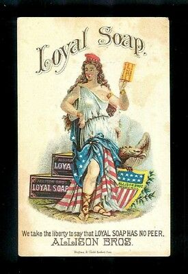Miss Liberty with American Eagle-1880s Victorian Trade Card-Loyal Soap-SALE