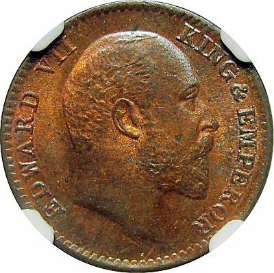 British India, King Edward 1908(c) copper 1/12 anna, NGC MS65 RB