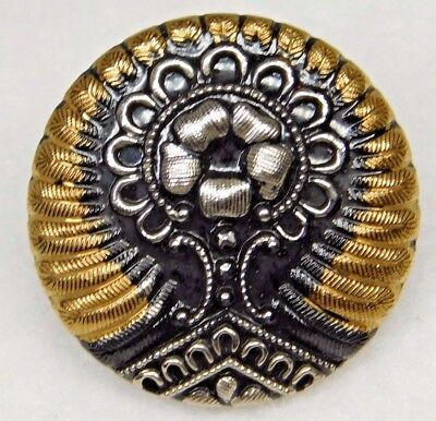Antique VICTORIAN LUSTER Glass BUTTON SILVER GOLD & BLACK  1 & 1/16""