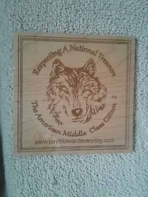 "7""x7""   Wood Plank  Wall Plaque  a wolf head respecting Americans middle class"