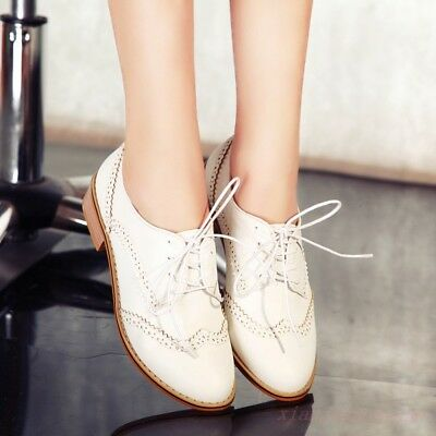 67c986036e6c Vintage New Brogues Women s Low Heel Lace Up Shoes Oxfords College Wing Tip  Size