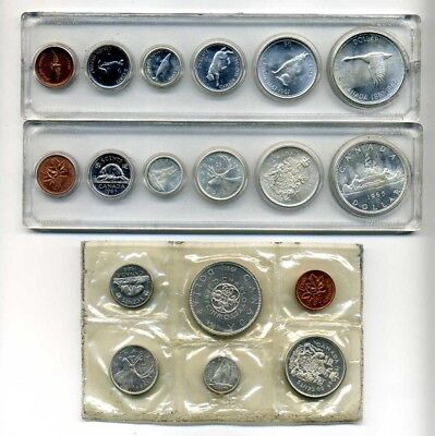 3 Canada Silver Proof Like Sets - 1964 1965 & 1967