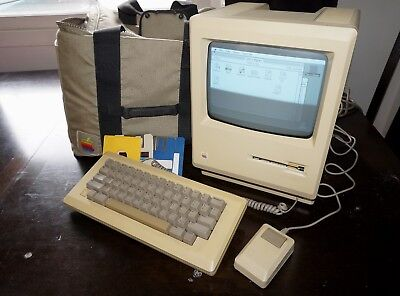Apple Macintosh 512K Computer System Model M0001 W Keyboard Mouse Carry Bag ++