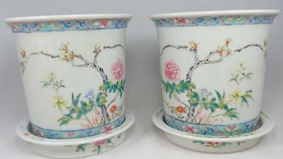 Stunning PAIR Antique Chinese Famille Rose Porcelain Planters Stands 1900s Qing